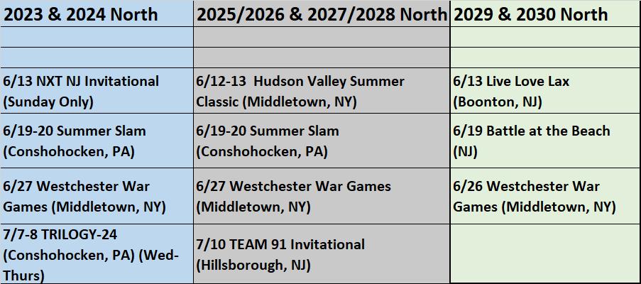 Summer 2021 North UPDATED Tournament Schedule 01_25_21