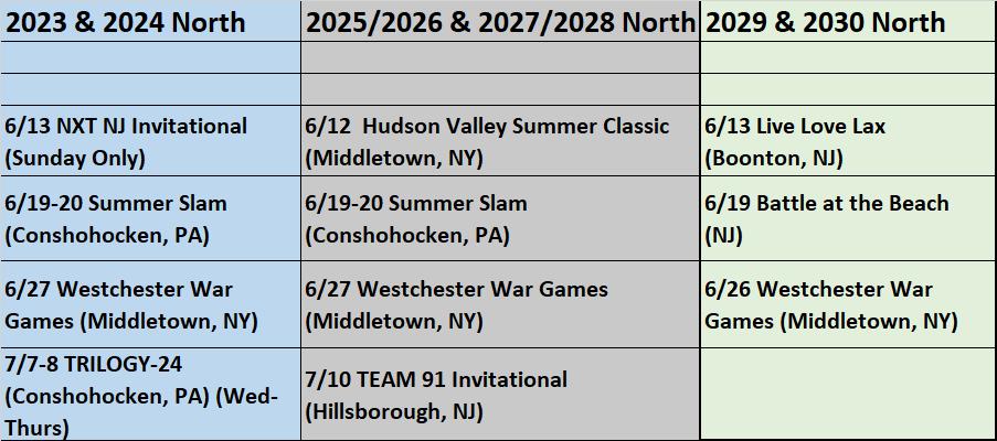 Summer 2021 North UPDATED Tournament Schedule 02_05_21