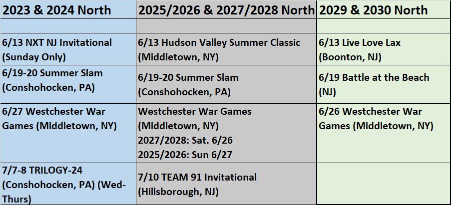 Summer 2021 Riot North UPDATED Tournament Schedule 05_25_21